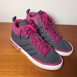 Adidas high top sneakers gray fuchsia pink 7